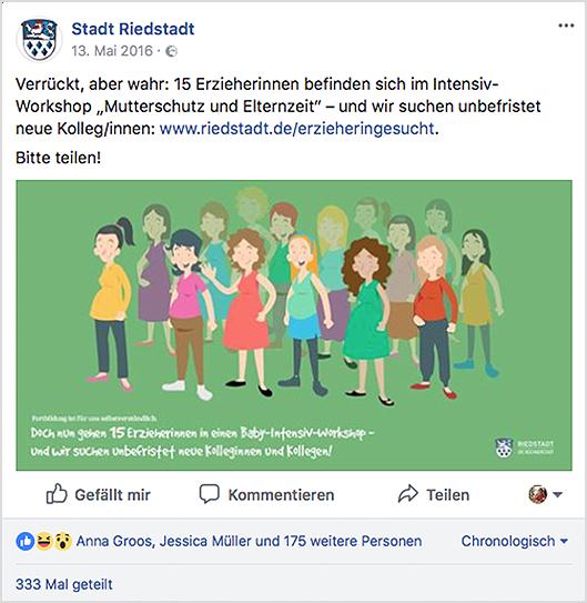 Facebook-Anzeige der Stadt Riedstadt